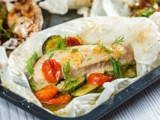 Chicken Breast en Papillote With Vegetables