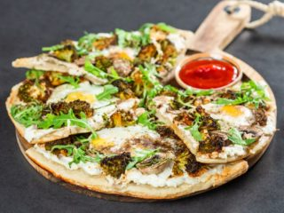 Sunny-Side-Up Pizza with Mushrooms
