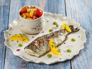 Grilled Trout with Cherry Tomato Salad