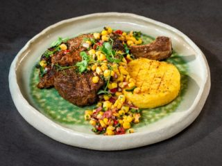 T-Bone Steak with Polenta and Sweet Corn Salad