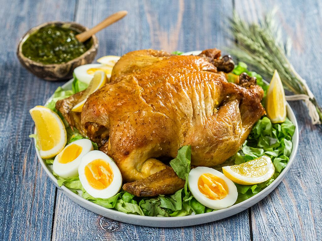 Roast Chicken with Minty Green Sauce