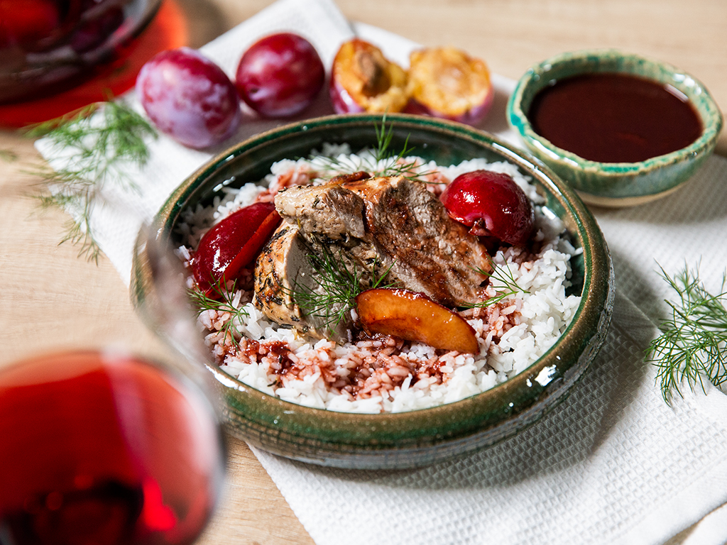 Pork Tenderloin with Red Wine and Plume Sauce
