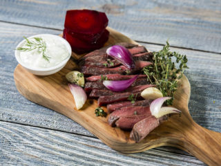 Beef Steak and Beetroot with White Sauce