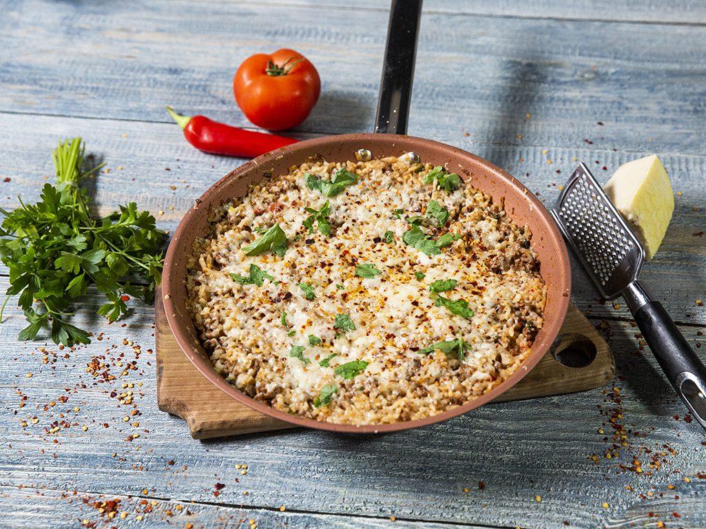 Cheesy Tomato Ground Beef Stir-Fry
