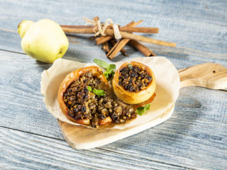 Baked Quince Stuffed with Raisins and Walnuts