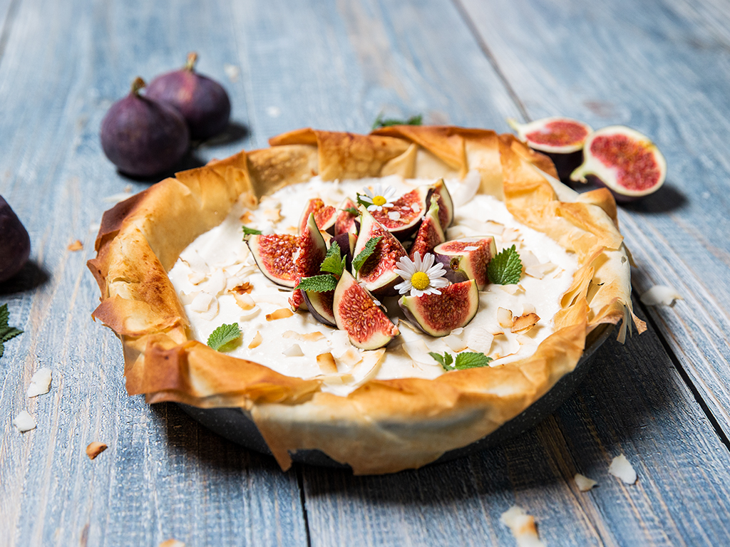 Ricotta Filo Tart with Figs and Rum