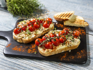 Roasted Cherry Tomato and Hummus Toast