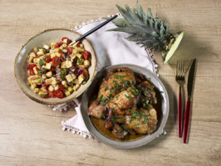 Chicken Thighs with Hot Pineapple Salad