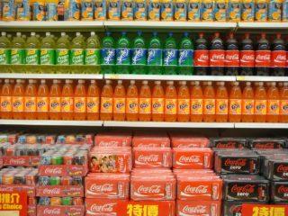 Soft drinks in supermarket