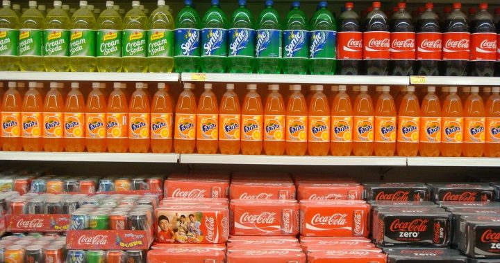 Soft drinks in supermarket