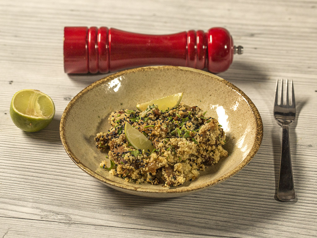 Pan-Fried Pork Belly with Couscous