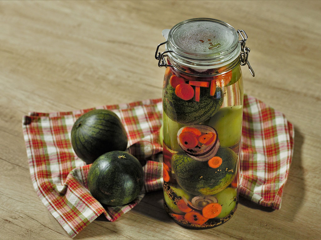 Pickled Green Tomatoes and Watermelon