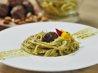 Carrot Pork Meatballs with Pesto Pasta