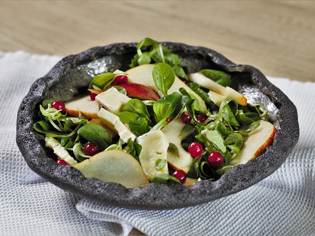 Pear and Lamb's Lettuce Salad with Brie and Citrus Vinaigrette