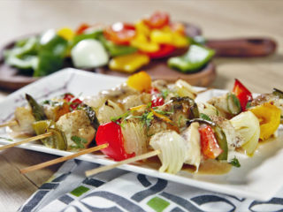 Baked Chicken and Veggie Skewers