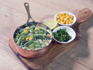 Green Beans and Sweet Corn with Cheese Sauce