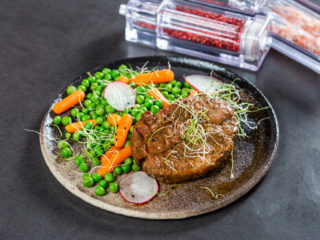 Grilled Pork Neck with Peas and Carrots