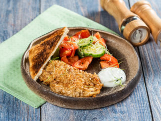 Oat-Crusted Chicken Breast with Tomato and Cucumber Salad