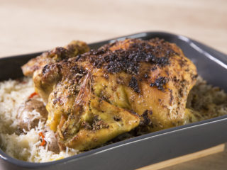 Oven-Roasted Whole Chicken with Rice