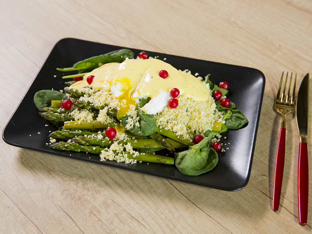 Poached Eggs with Couscous and Asparagus