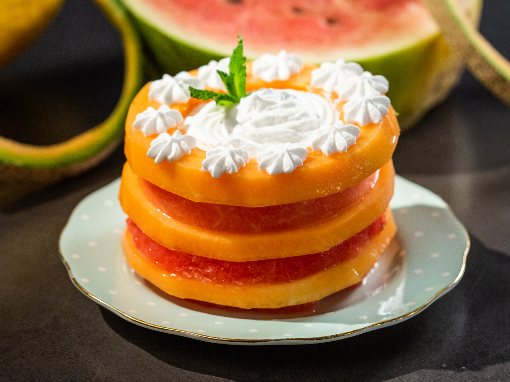 Watermelon Cantaloupe Mini Cakes