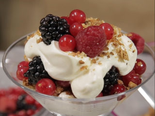 Coconut Walnut Crumbs with Forest Fruits and Whipped Cream 1024 x768