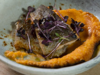 Pan-Fried Trout with Mashed Sweet Potatoes and Celery Root
