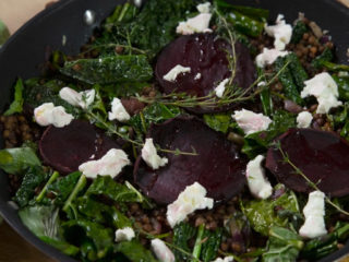 Baked Beetroot with Kale and Lentils