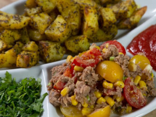 Spicy Baked Potatoes with Tuna Salad