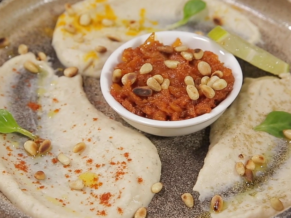 White Bean Puree with Spicy Onion and Tomato Sauce