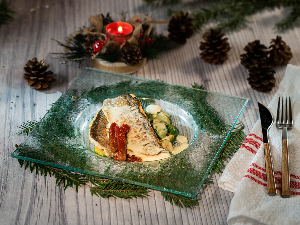 Pan-Fried-Smoked-Trout-with-Brussels-Sprouts-and-Creamy-Sauce